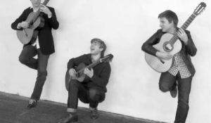 Musicians playing guitars